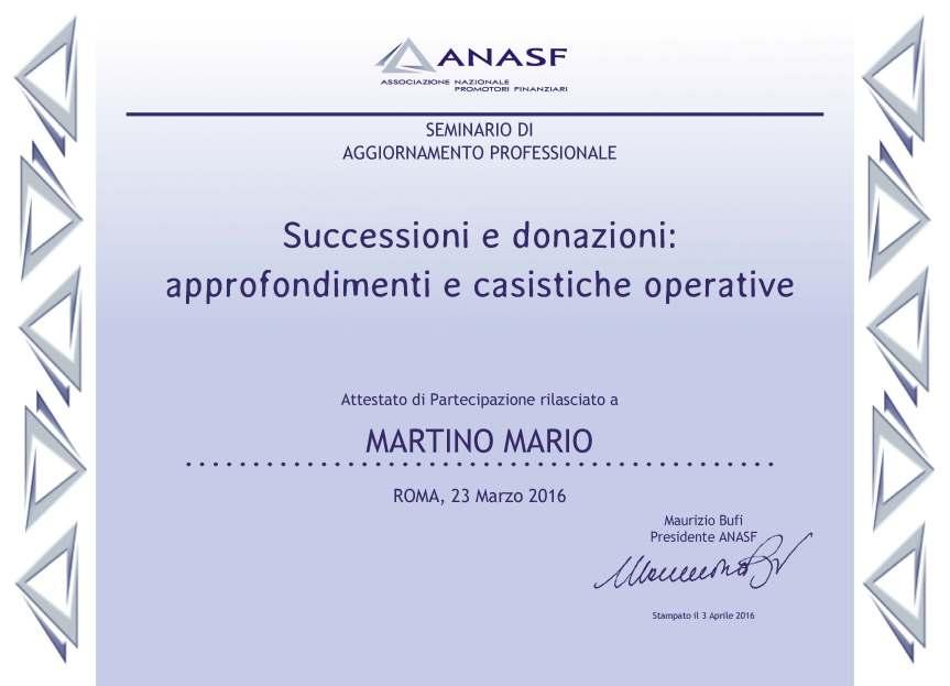 ATTESTATO 2016.03.23 Successioni e donazioni approfondimenti e casistiche operative