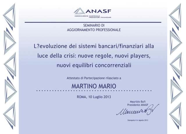 attestato L'evoluzione dei sistemi bancari-finanziari alla luce della crisi