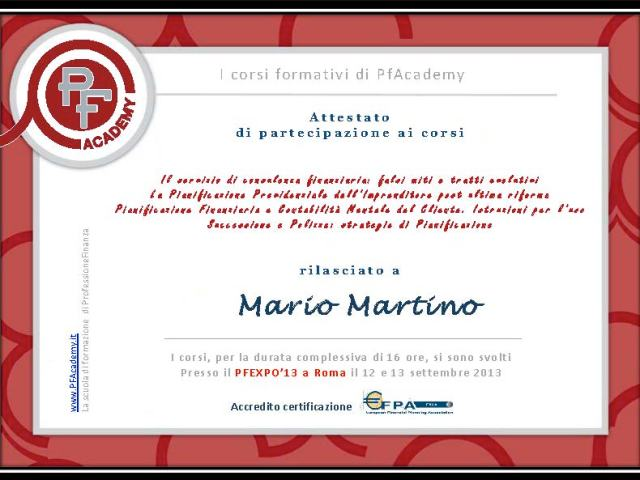 Attestato partecipazione pf expo 2013