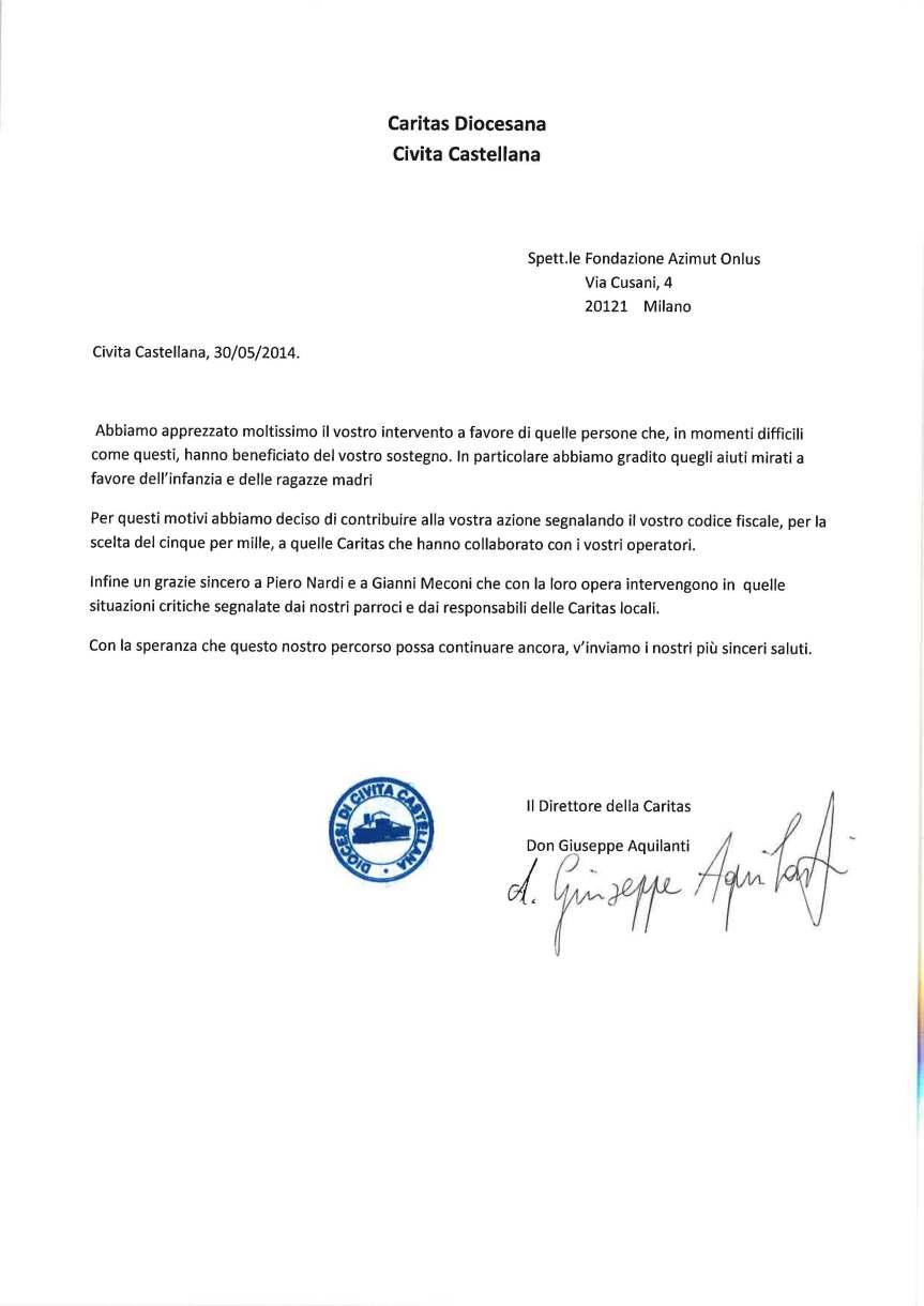 lettera dicoesi di Civita Castellana