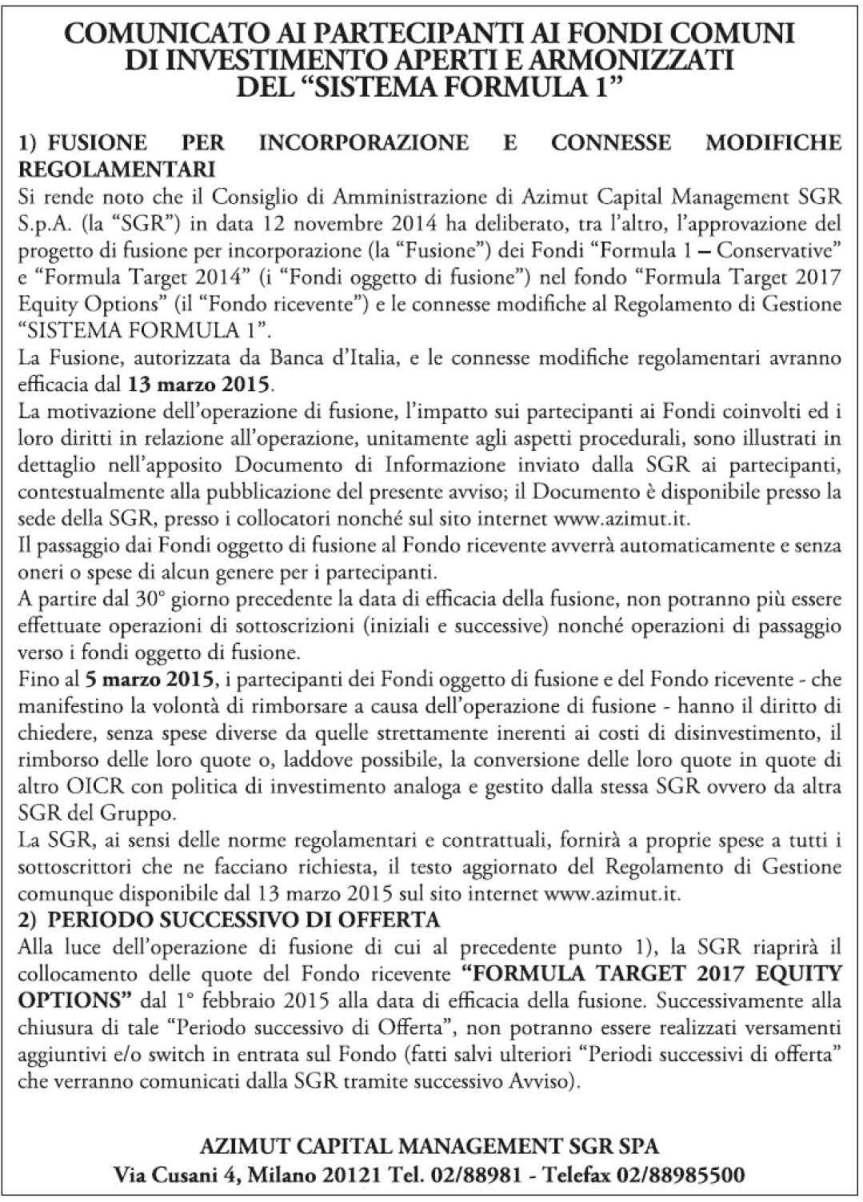 Pagine da 2015 07 Fusione per incorporazione dei fondi italiani appartenenti al sistema formula 1