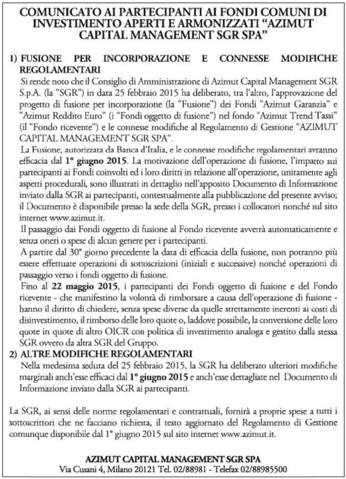 Pagine da 2015 25 Fusione per incorporazione dei fondi italiani Azimut Capital Management sgr spa