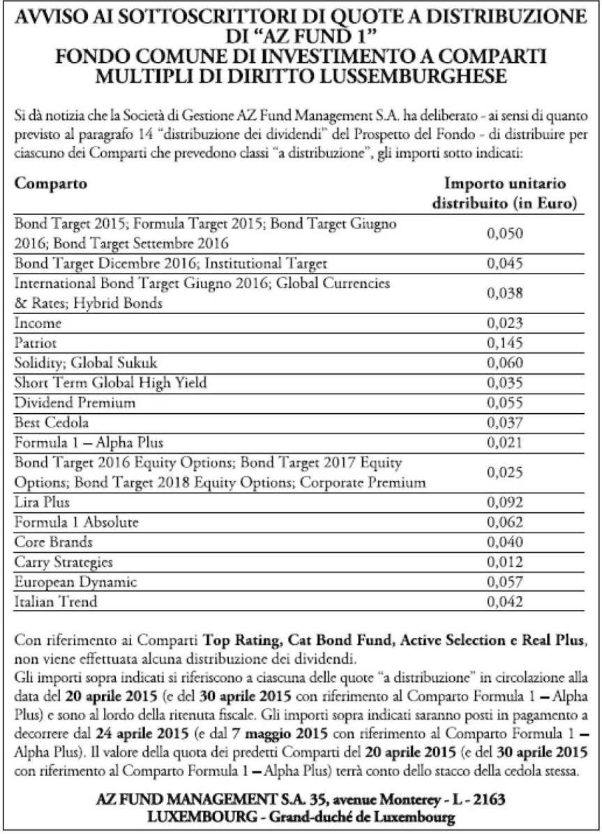 Pagine da 2015 26 Comparti Az Fund 1 - Az Multi Asset - distribuzione dividendi trimestrale