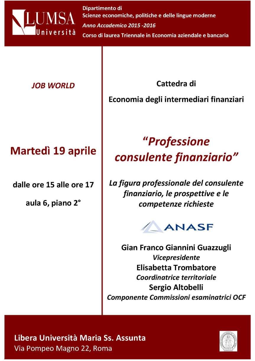 Locandina Career Day Anasf, LUMSA, Roma, 19 aprile 2016